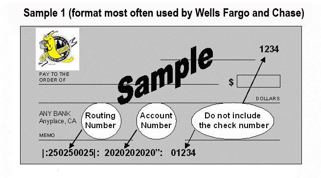 Sample Check - Wells Fargo / Chase