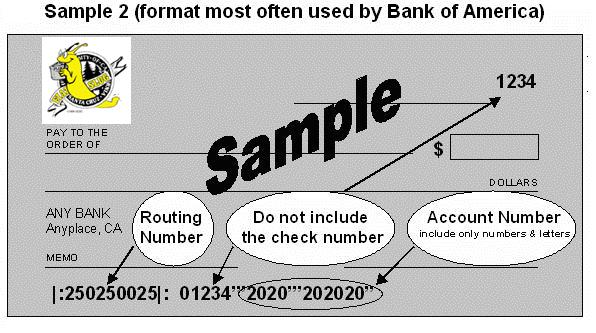 Sample Check BofA
